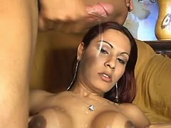 Sexy shemale w large boobs gets cum