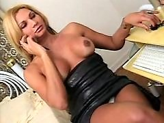Sexy secretary shemale seduces dude