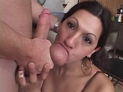 Tranny gets and gives BJ in kitchen
