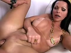 Spoiled blonde shemale gets cumload
