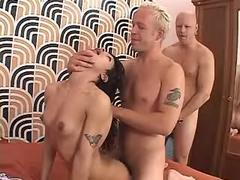 Two harsh dudes fuck tranny in orgy