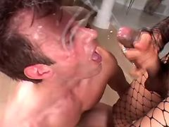 Guy gets facial from a hot shemale