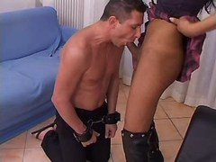 Tranny in boots sucked by slave guy