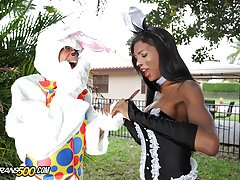 Watch the sexy Natassia Dreams in this Easter scene get fucked by Ramon!